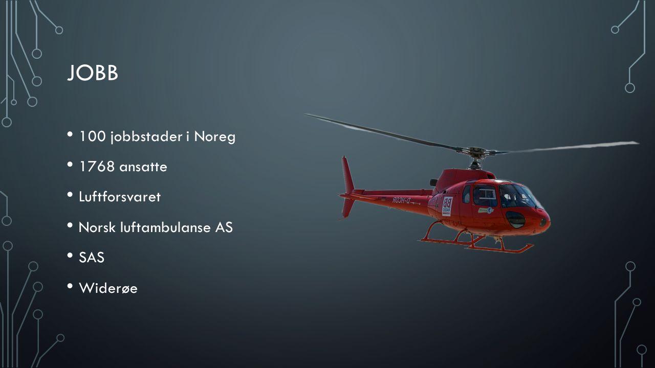JOBB 100 jobbstader i Noreg 1768 ansatte Luftforsvaret Norsk luftambulanse AS SAS Widerøe