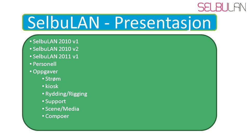SelbuLAN - Presentasjon SelbuLAN 2010 v1 SelbuLAN 2010 v2 SelbuLAN 2011 v1 Personell Oppgaver Strøm kiosk Rydding/Rigging Support Scene/Media Compoer