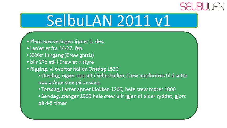 SelbuLAN 2011 v1 Plassreserveringen åpner 1. des.