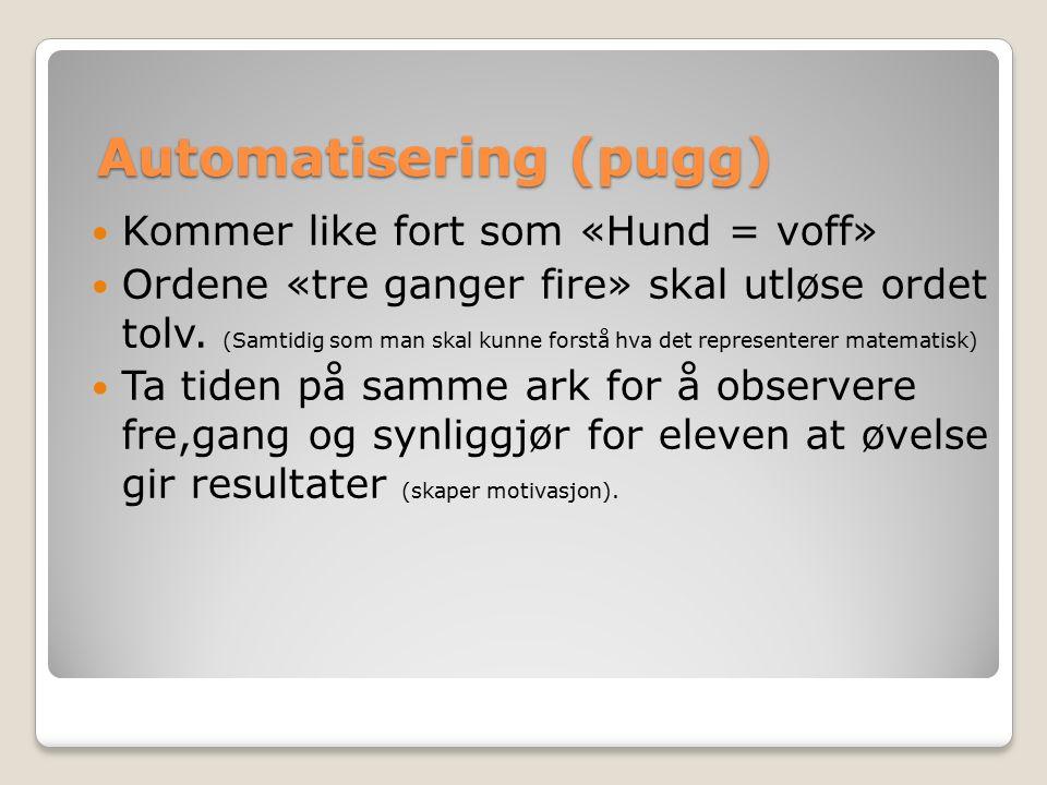 Automatisering (pugg) Kommer like fort som «Hund = voff» Ordene «tre ganger fire» skal utløse ordet tolv.