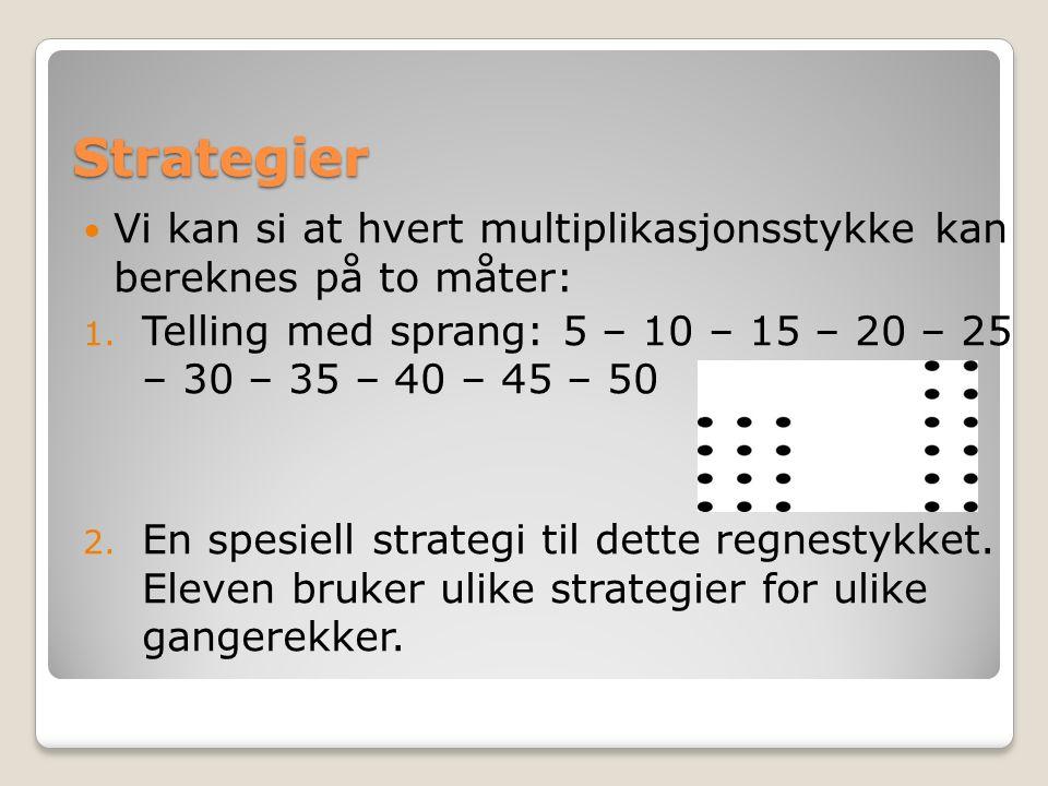 Strategier Vi kan si at hvert multiplikasjonsstykke kan bereknes på to måter: 1.