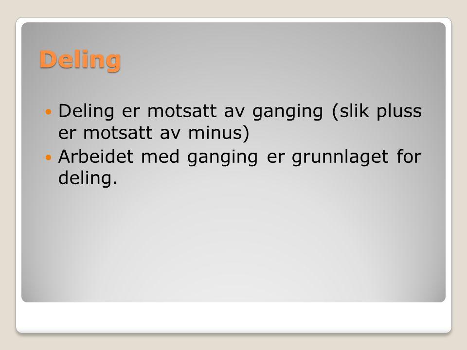 Deling Deling er motsatt av ganging (slik pluss er motsatt av minus) Arbeidet med ganging er grunnlaget for deling.