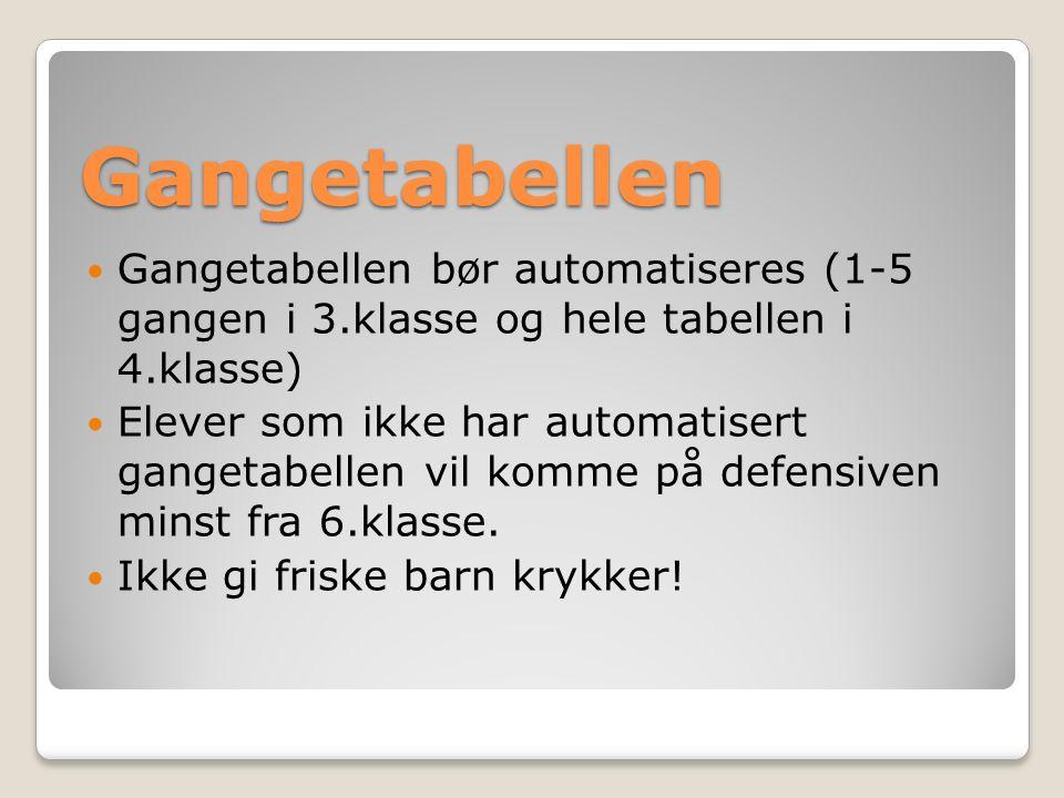 Gangetabellen Gangetabellen bør automatiseres (1-5 gangen i 3.klasse og hele tabellen i 4.klasse) Elever som ikke har automatisert gangetabellen vil komme på defensiven minst fra 6.klasse.