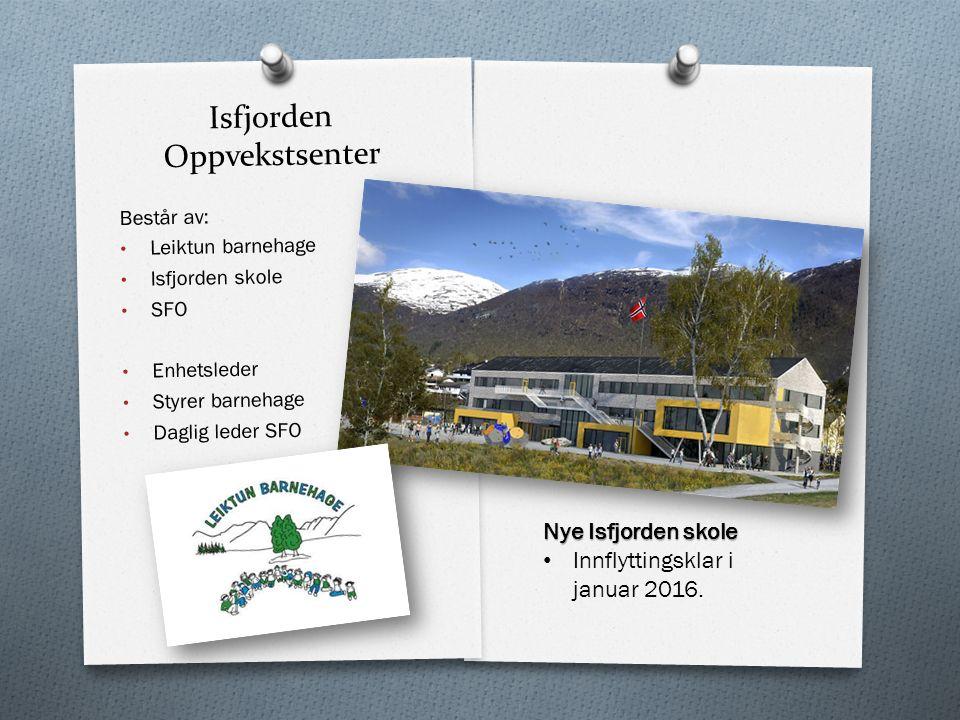 Isfjorden Oppvekstsenter Består av: Leiktun barnehage Isfjorden skole SFO Enhetsleder Styrer barnehage Daglig leder SFO Nye Isfjorden skole Innflyttingsklar i januar 2016.