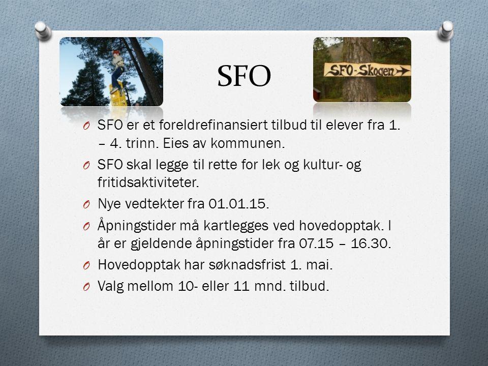 SFO O SFO er et foreldrefinansiert tilbud til elever fra 1. – 4. trinn. Eies av kommunen. O SFO skal legge til rette for lek og kultur- og fritidsakti