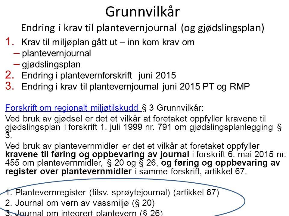 Grunnvilkår Endring i krav til plantevernjournal (og gjødslingsplan) 1.