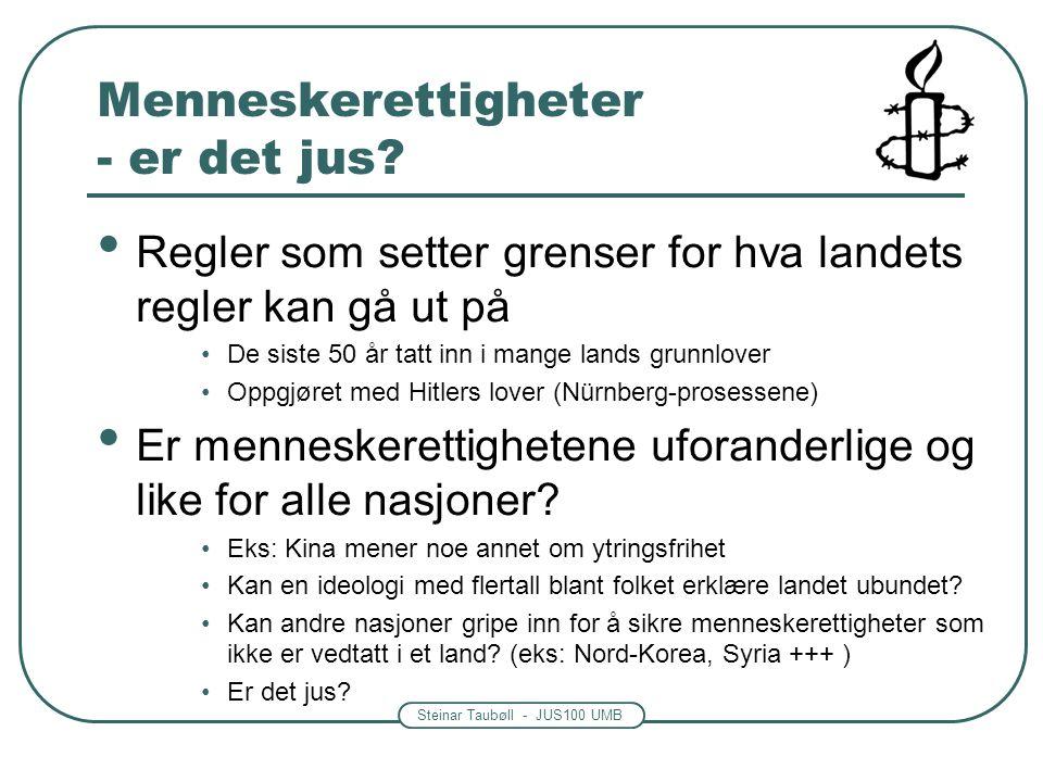 Steinar Taubøll - JUS100 UMB Menneskerettigheter - er det jus.