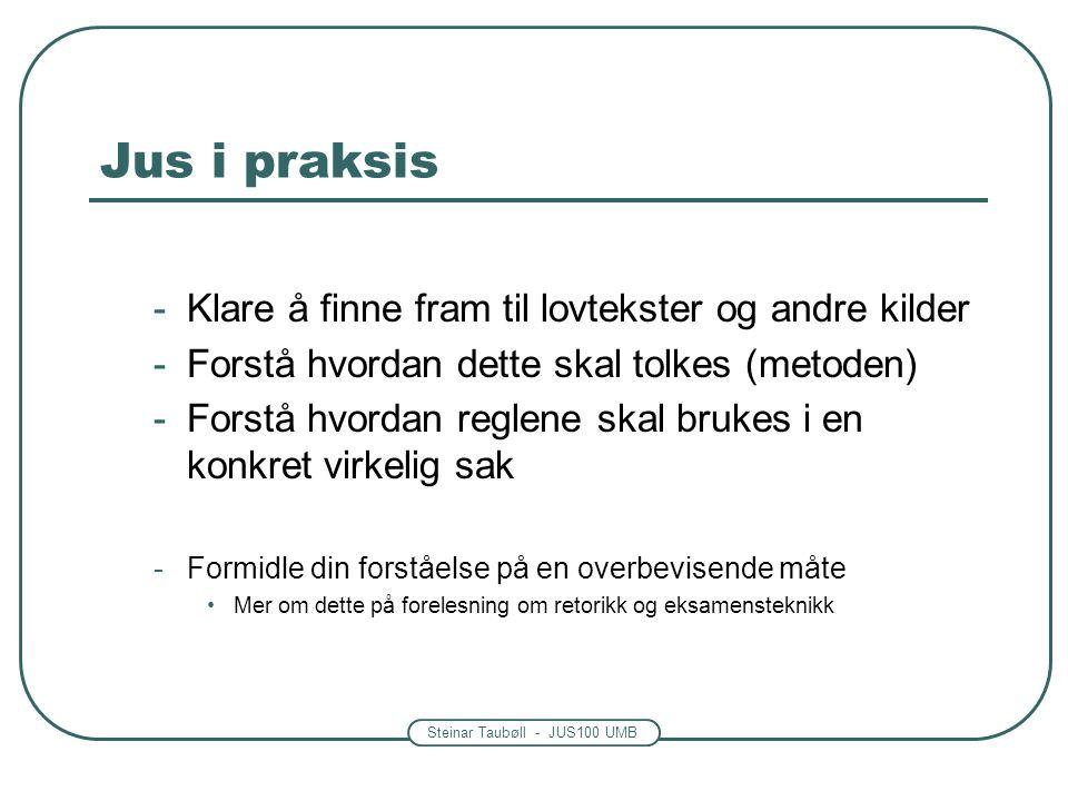 Steinar Taubøll - JUS100 UMB Jus i praksis -Klare å finne fram til lovtekster og andre kilder -Forstå hvordan dette skal tolkes (metoden) -Forstå hvordan reglene skal brukes i en konkret virkelig sak -Formidle din forståelse på en overbevisende måte Mer om dette på forelesning om retorikk og eksamensteknikk