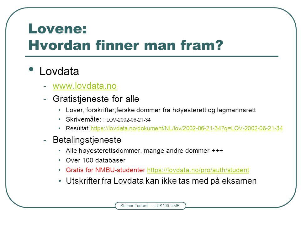 Steinar Taubøll - JUS100 UMB Lovene: Hvordan finner man fram.