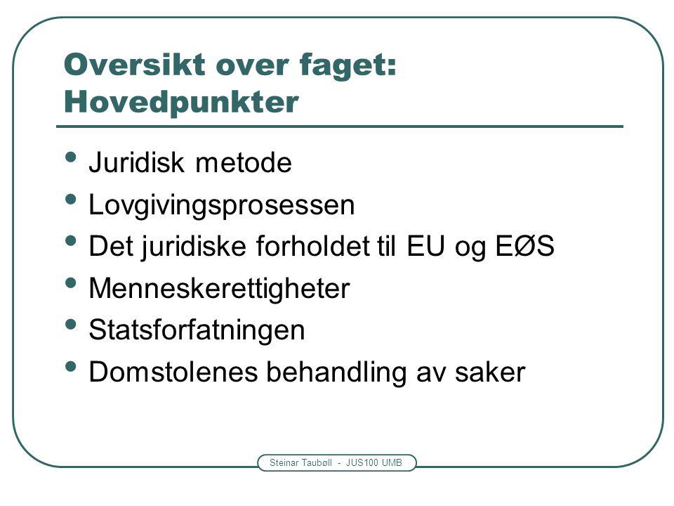 Steinar Taubøll - JUS100 UMB Oversikt over faget: Hovedpunkter Juridisk metode Lovgivingsprosessen Det juridiske forholdet til EU og EØS Menneskerettigheter Statsforfatningen Domstolenes behandling av saker
