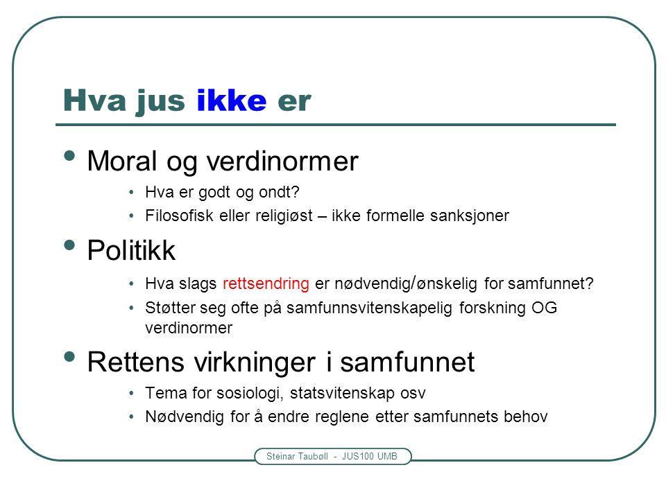 Steinar Taubøll - JUS100 UMB Hva jus ikke er Moral og verdinormer Hva er godt og ondt.