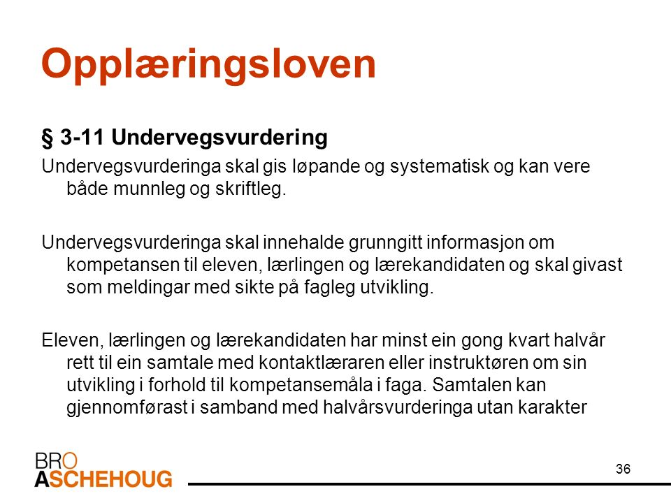 36 Opplæringsloven § 3-11 Undervegsvurdering Undervegsvurderinga skal gis løpande og systematisk og kan vere både munnleg og skriftleg.