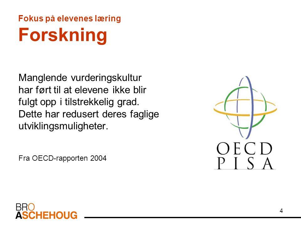 5 Fokus på elevenes læring Forskning Etableringen av ny evalueringskultur er antakelig den viktigste enkeltstående forandring som må gjennomføres for å heve standarden i undervisningen Fra OECD-rapporten 2004