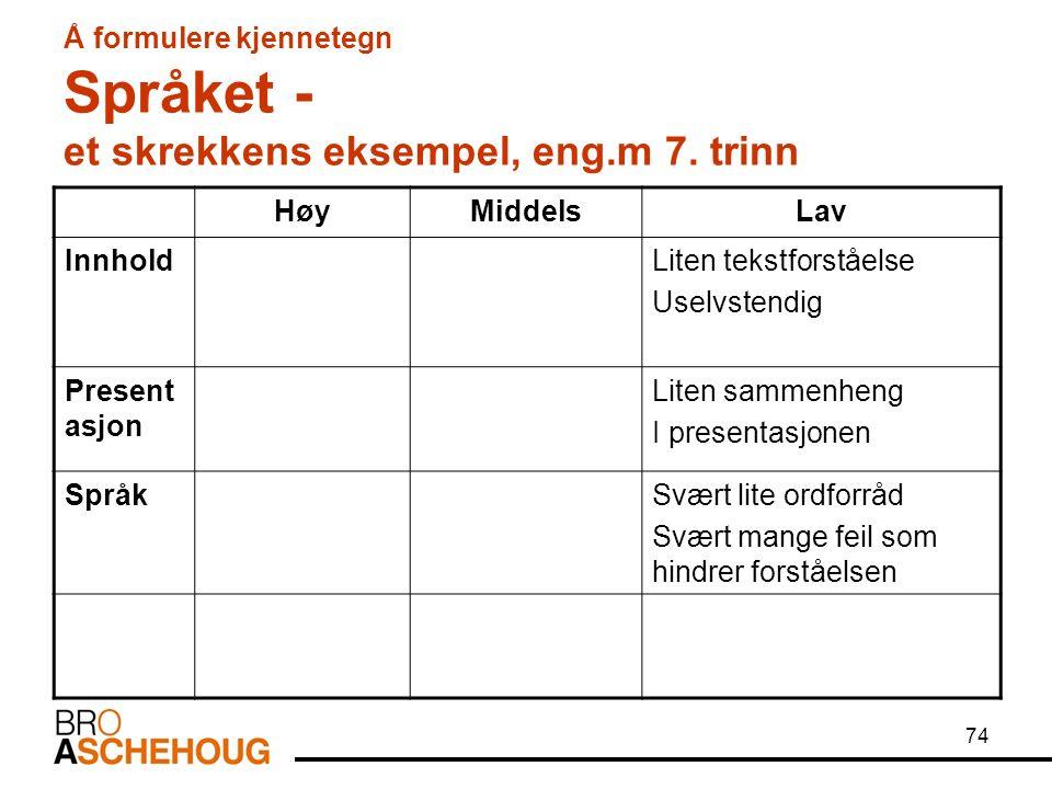74 Å formulere kjennetegn Språket - et skrekkens eksempel, eng.m 7.