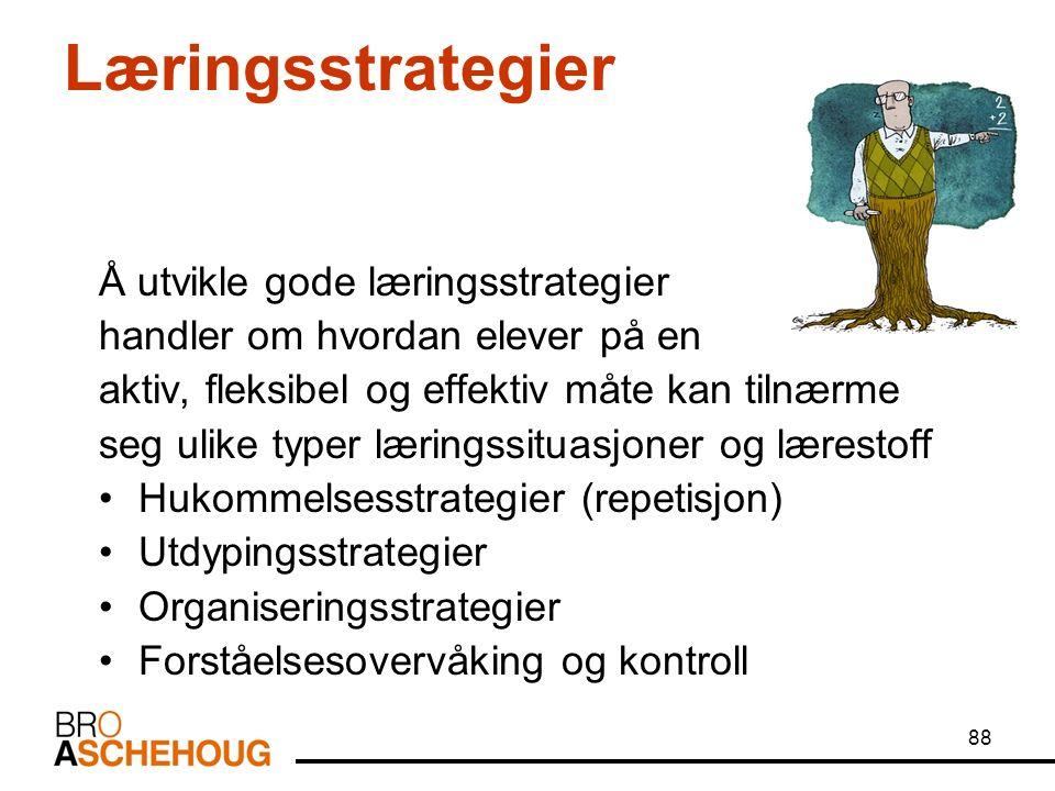 88 Læringsstrategier Å utvikle gode læringsstrategier handler om hvordan elever på en aktiv, fleksibel og effektiv måte kan tilnærme seg ulike typer læringssituasjoner og lærestoff Hukommelsesstrategier (repetisjon) Utdypingsstrategier Organiseringsstrategier Forståelsesovervåking og kontroll