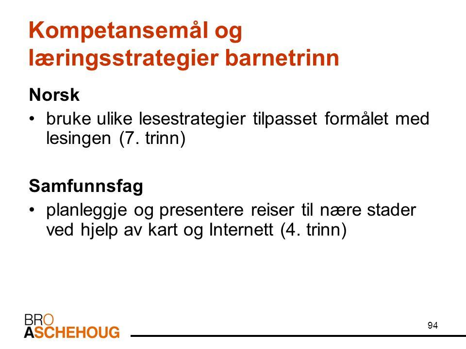 94 Kompetansemål og læringsstrategier barnetrinn Norsk bruke ulike lesestrategier tilpasset formålet med lesingen (7.