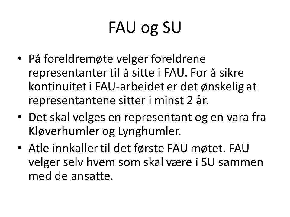 FAU og SU På foreldremøte velger foreldrene representanter til å sitte i FAU.