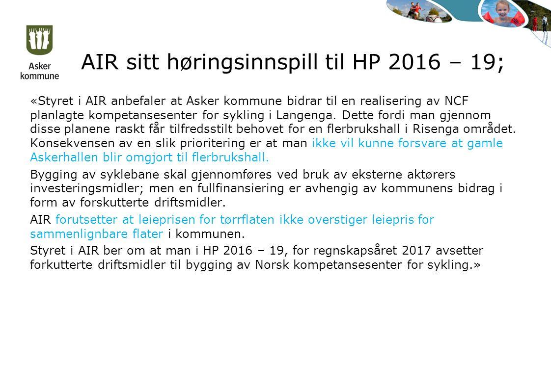 AIR sitt høringsinnspill til HP 2016 – 19; «Styret i AIR anbefaler at Asker kommune bidrar til en realisering av NCF planlagte kompetansesenter for sy