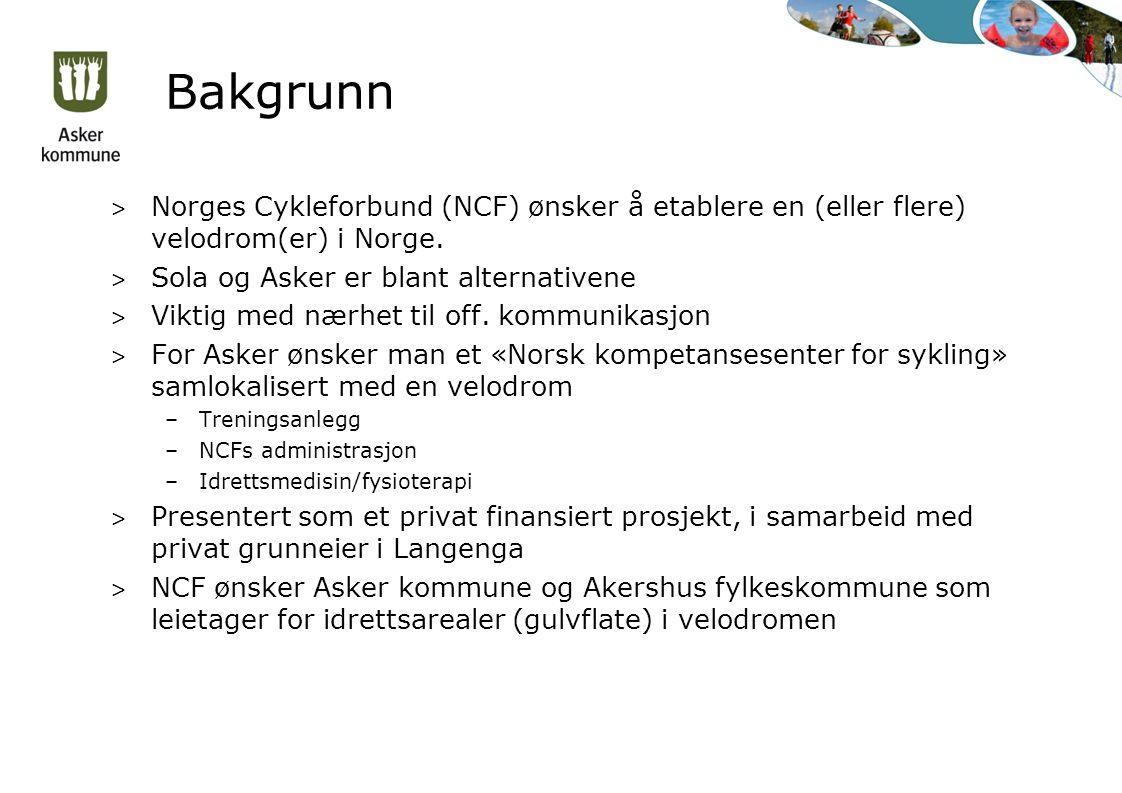 Bakgrunn > Norges Cykleforbund (NCF) ønsker å etablere en (eller flere) velodrom(er) i Norge. > Sola og Asker er blant alternativene > Viktig med nærh