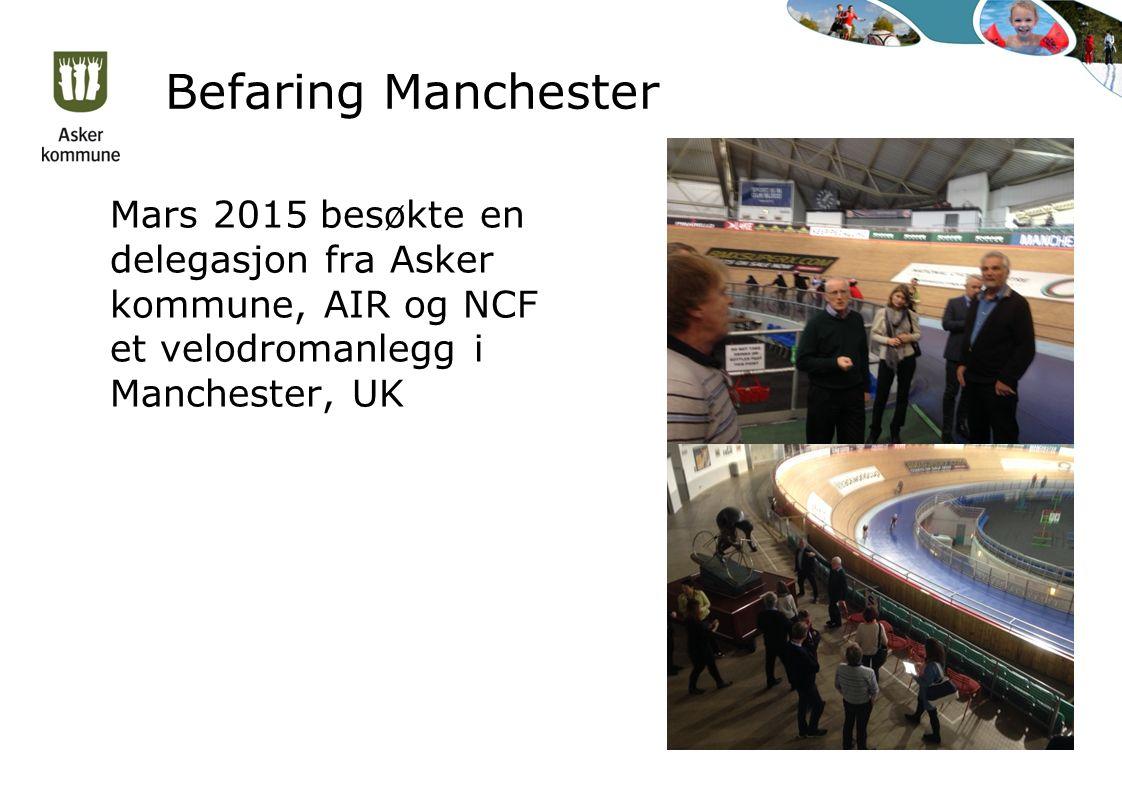 Befaring Manchester Mars 2015 besøkte en delegasjon fra Asker kommune, AIR og NCF et velodromanlegg i Manchester, UK