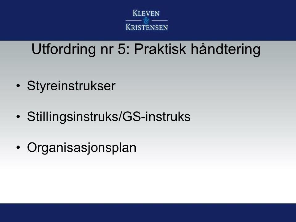 Utfordring nr 5: Praktisk håndtering Styreinstrukser Stillingsinstruks/GS-instruks Organisasjonsplan