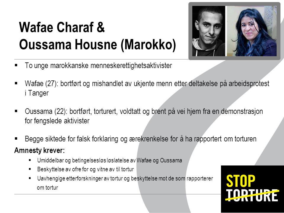 Wafae Charaf & Oussama Housne (Marokko)  To unge marokkanske menneskerettighetsaktivister  Wafae (27): bortført og mishandlet av ukjente menn etter deltakelse på arbeidsprotest i Tanger  Oussama (22): bortført, torturert, voldtatt og brent på vei hjem fra en demonstrasjon for fengslede aktivister  Begge siktede for falsk forklaring og ærekrenkelse for å ha rapportert om torturen Amnesty krever:  Umiddelbar og betingelsesløs løslatelse av Wafae og Oussama  Beskyttelse av ofre for og vitne av til tortur  Uavhengige etterforskninger av tortur og beskyttelse mot de som rapporterer om tortur