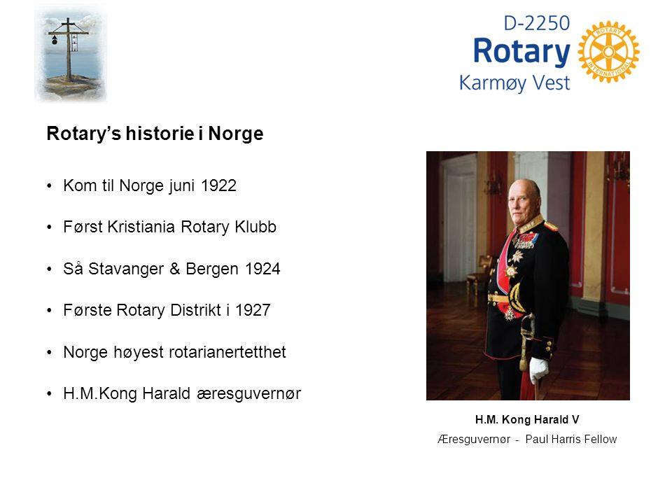 H.M. Kong Harald V Æresguvernør - Paul Harris Fellow Rotary's historie i Norge Kom til Norge juni 1922 Først Kristiania Rotary Klubb Så Stavanger & Be