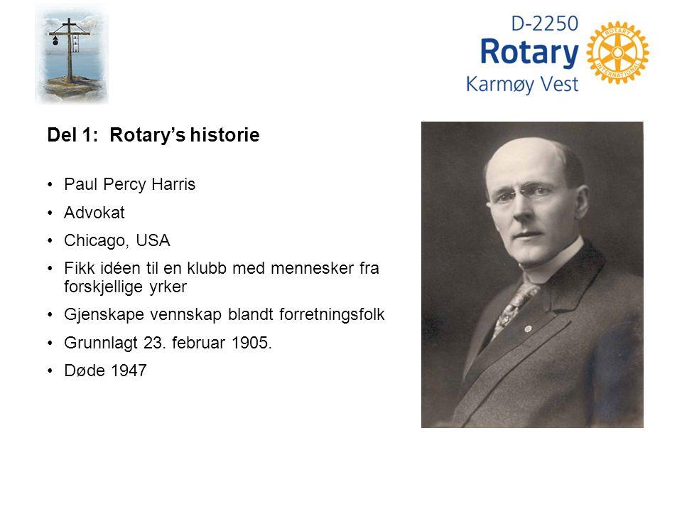 Del 1: Rotary's historie Paul Percy Harris Advokat Chicago, USA Fikk idéen til en klubb med mennesker fra forskjellige yrker Gjenskape vennskap blandt forretningsfolk Grunnlagt 23.