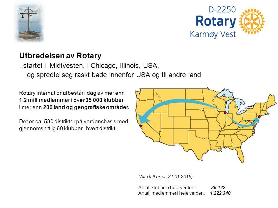 Utbredelsen av Rotary..startet i Midtvesten, i Chicago, Illinois, USA, og spredte seg raskt både innenfor USA og til andre land Rotary International består i dag av mer enn 1,2 mill medlemmer i over 35 000 klubber i mer enn 200 land og geografiske områder.