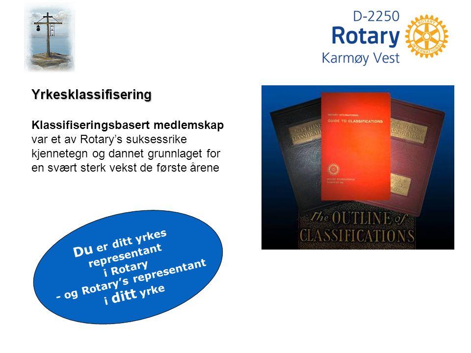 Rotary's historie Ledere fra forskjellige foretak møtes regelmessig Treffes i kameratslig ånd for å lære hverandre å kjenne Støtte hverandre i hederlig virksomhet En representant for hver bransje eller yrke Treffes hver uke på hverandres arbeidssted