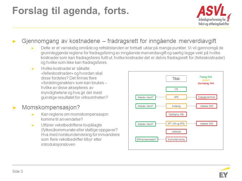 Forslag til agenda, forts.