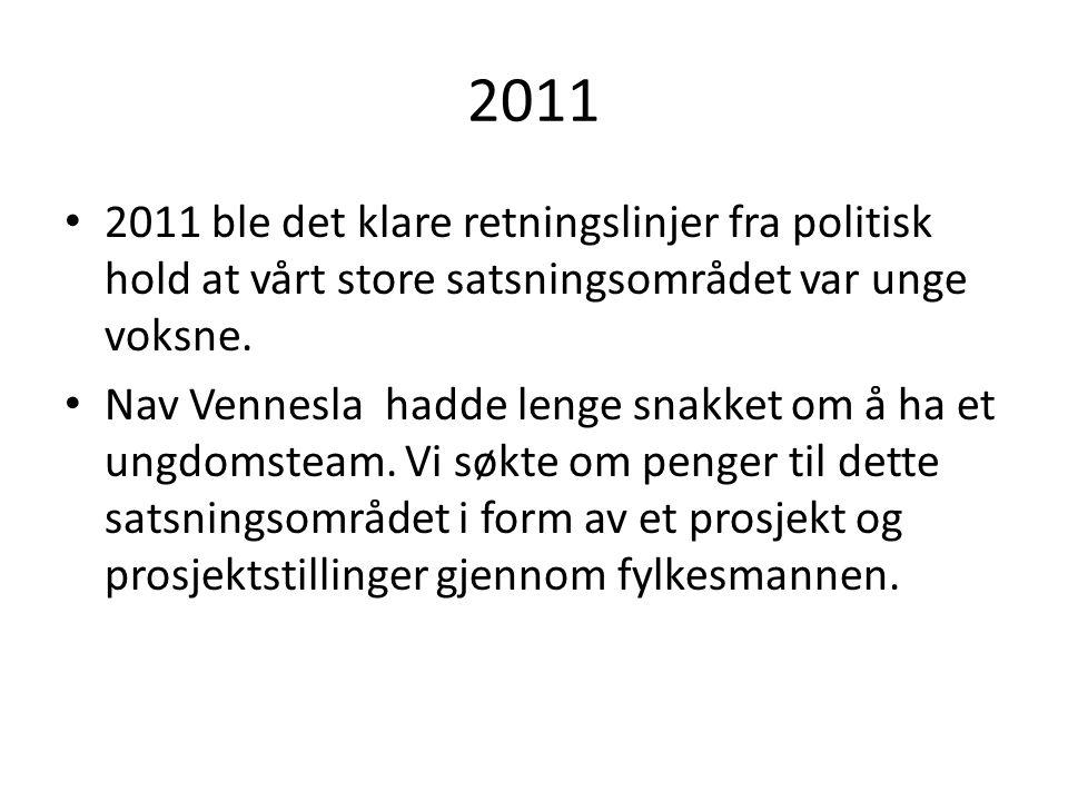 2011 2011 ble det klare retningslinjer fra politisk hold at vårt store satsningsområdet var unge voksne.