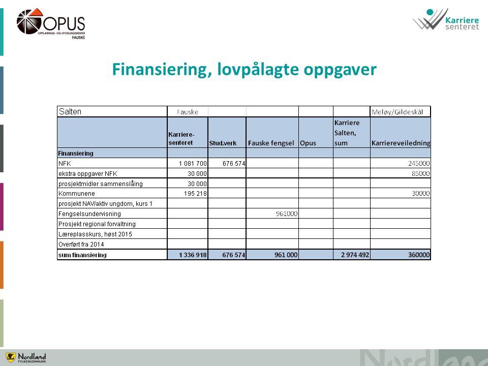 Finansiering, lovpålagte oppgaver