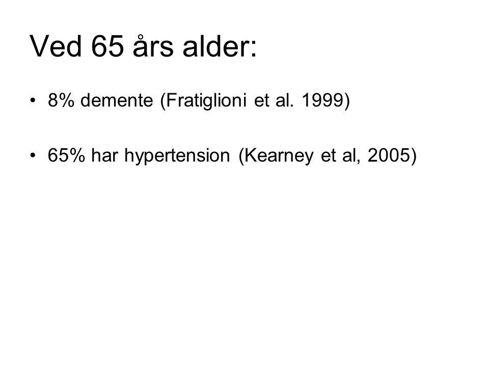 Ved 65 års alder: 8% demente (Fratiglioni et al. 1999) 65% har hypertension (Kearney et al, 2005)