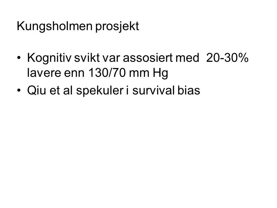 Kungsholmen prosjekt Kognitiv svikt var assosiert med 20-30% lavere enn 130/70 mm Hg Qiu et al spekuler i survival bias