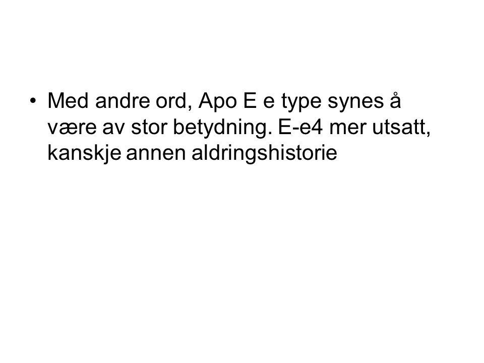 Med andre ord, Apo E e type synes å være av stor betydning.