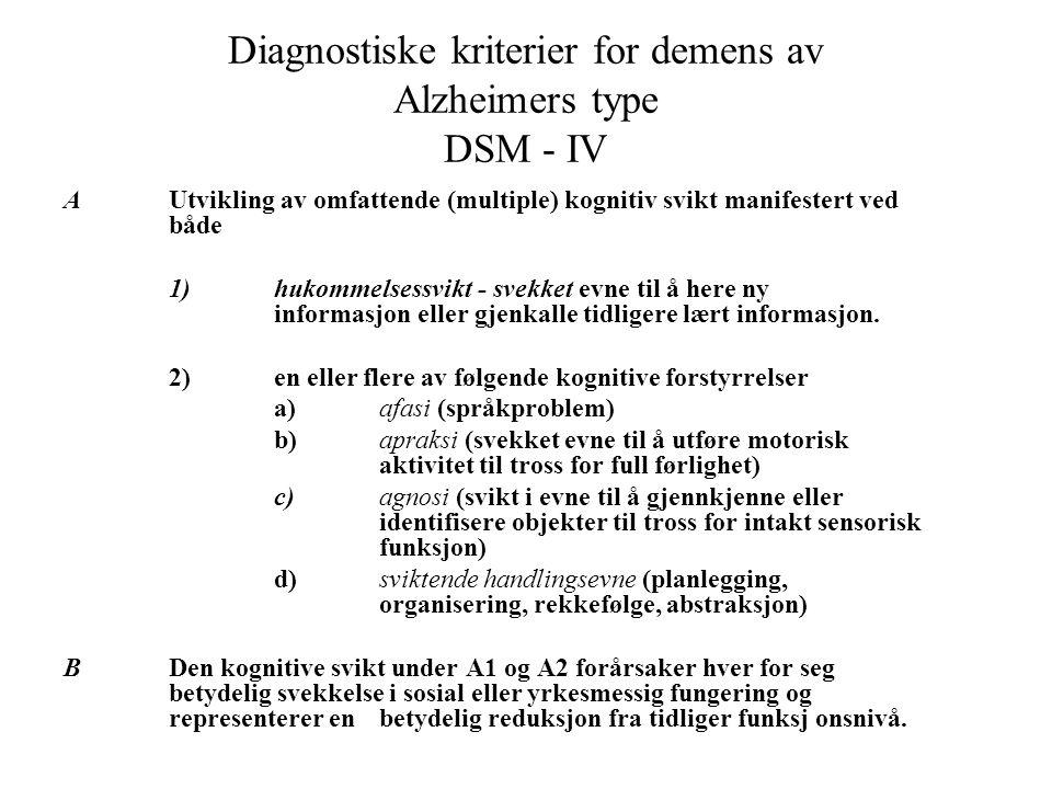 Diagnostiske kriterier for demens av Alzheimers type DSM ‑ IV AUtvikling av omfattende (multiple) kognitiv svikt manifestert ved både 1)hukommelsessvikt ‑ svekket evne til å here ny informasjon eller gjenkalle tidligere lært informasjon.
