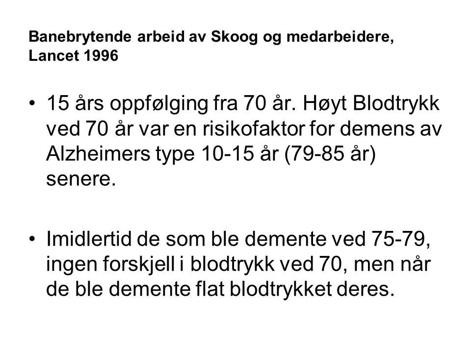 Banebrytende arbeid av Skoog og medarbeidere, Lancet 1996 15 års oppfølging fra 70 år.