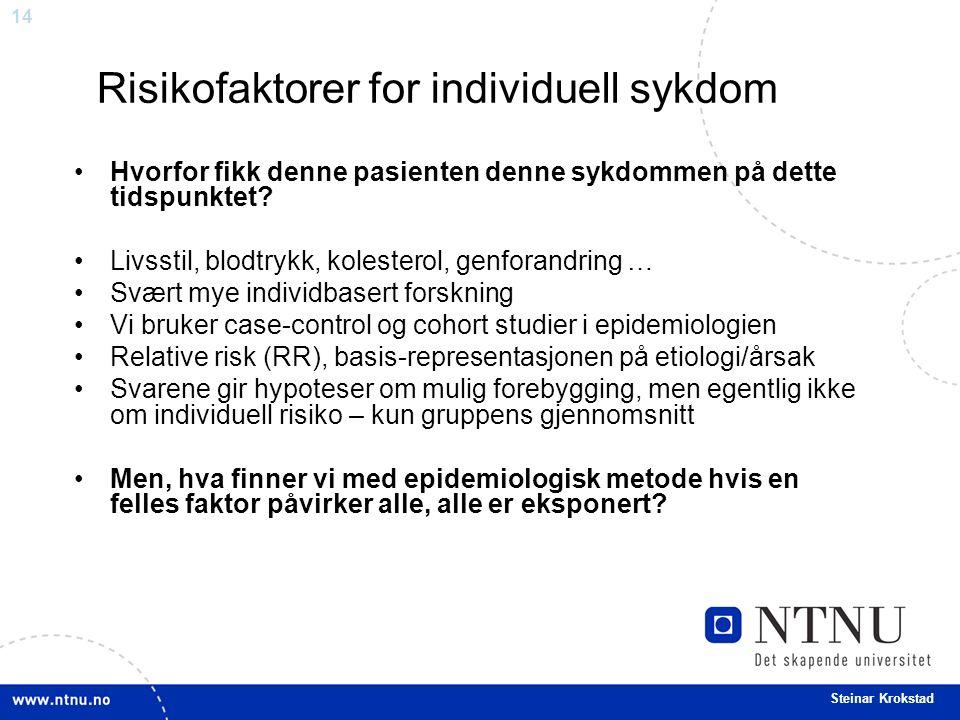 14 Steinar Krokstad Risikofaktorer for individuell sykdom Hvorfor fikk denne pasienten denne sykdommen på dette tidspunktet.