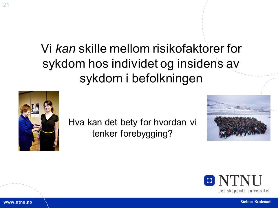 21 Steinar Krokstad Vi kan skille mellom risikofaktorer for sykdom hos individet og insidens av sykdom i befolkningen Hva kan det bety for hvordan vi tenker forebygging