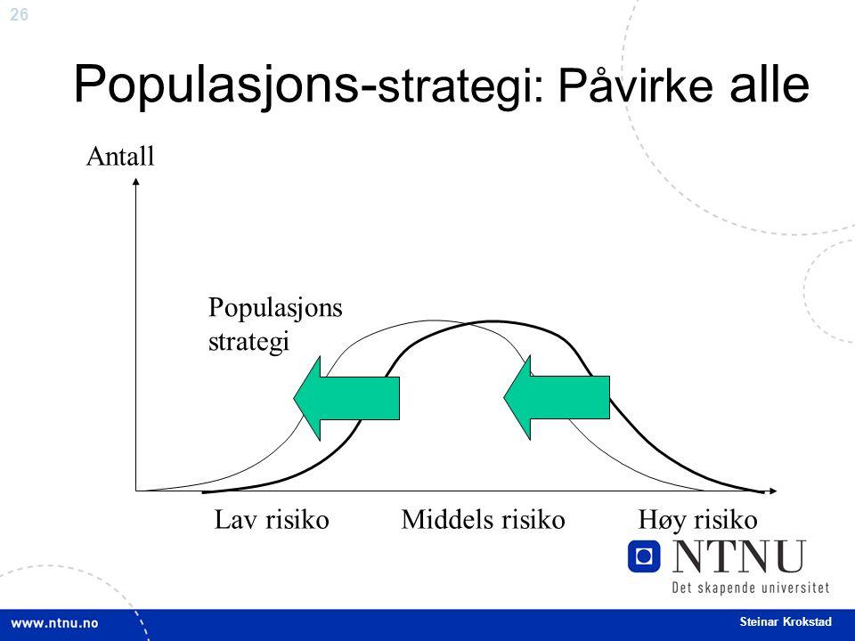 26 Steinar Krokstad Populasjons- strategi: Påvirke alle Antall Populasjons strategi Lav risiko Middels risiko Høy risiko