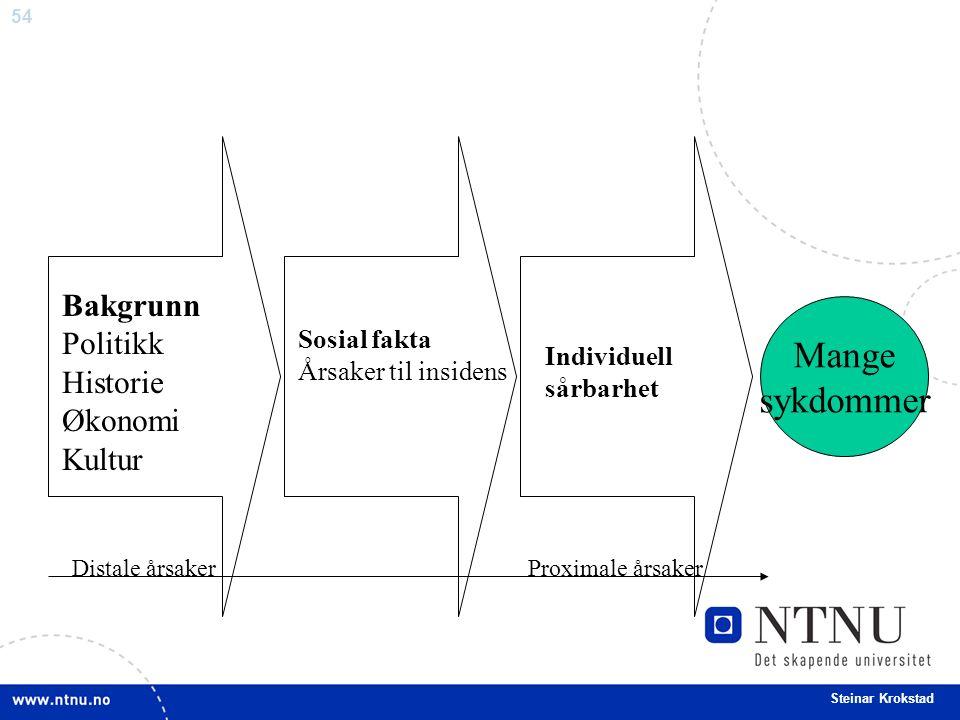 54 Steinar Krokstad Mange sykdommer Individuell sårbarhet Sosial fakta Årsaker til insidens Bakgrunn Politikk Historie Økonomi Kultur Distale årsaker Proximale årsaker