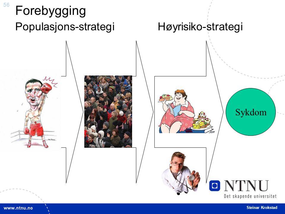 56 Steinar Krokstad Forebygging Populasjons-strategi Høyrisiko-strategi Individer Sårbarhet og behov Sykdom
