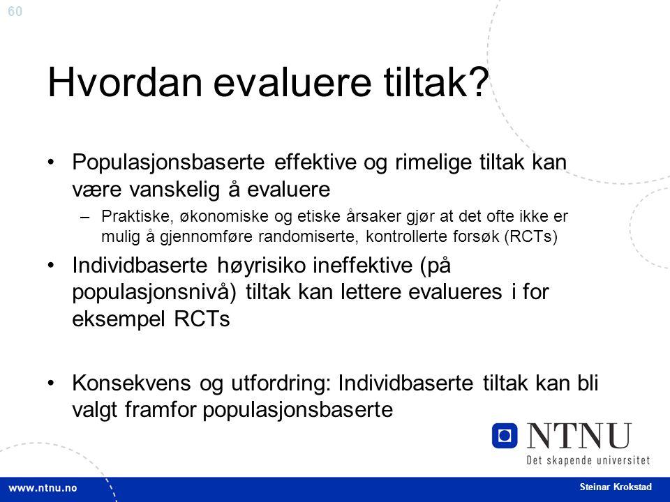60 Steinar Krokstad Hvordan evaluere tiltak? Populasjonsbaserte effektive og rimelige tiltak kan være vanskelig å evaluere –Praktiske, økonomiske og e