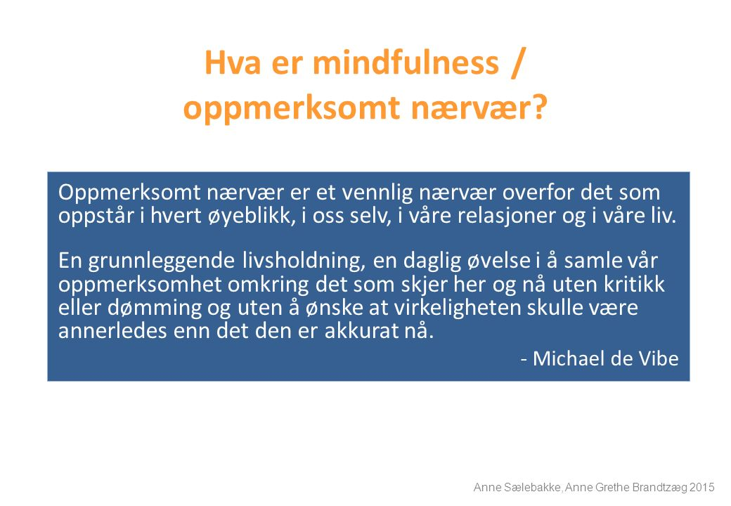Hva er mindfulness / oppmerksomt nærvær? Oppmerksomt nærvær er et vennlig nærvær overfor det som oppstår i hvert øyeblikk, i oss selv, i våre relasjon