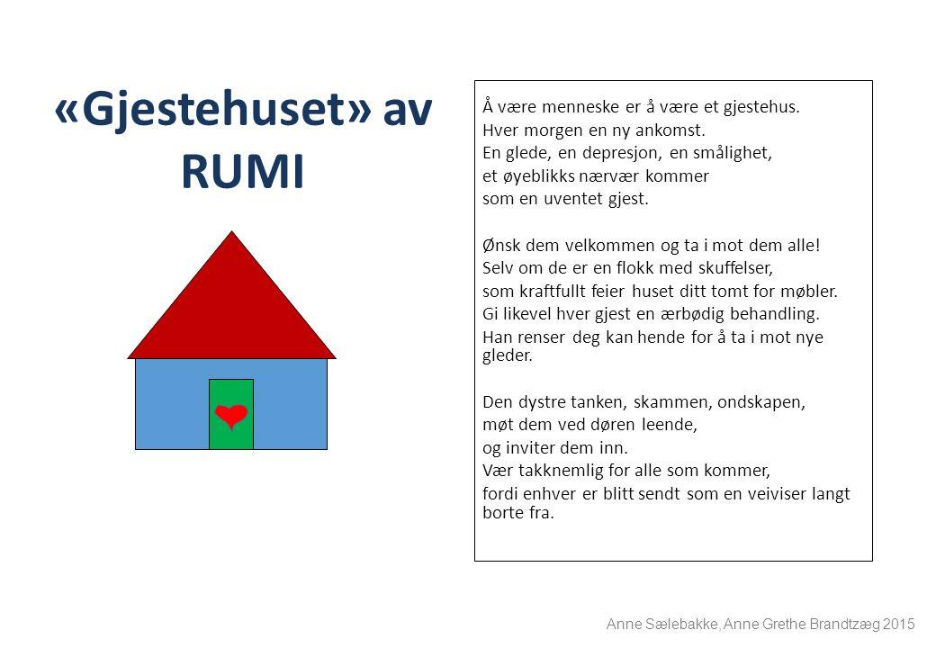 «Gjestehuset» av RUMI Å være menneske er å være et gjestehus. Hver morgen en ny ankomst. En glede, en depresjon, en smålighet, et øyeblikks nærvær kom