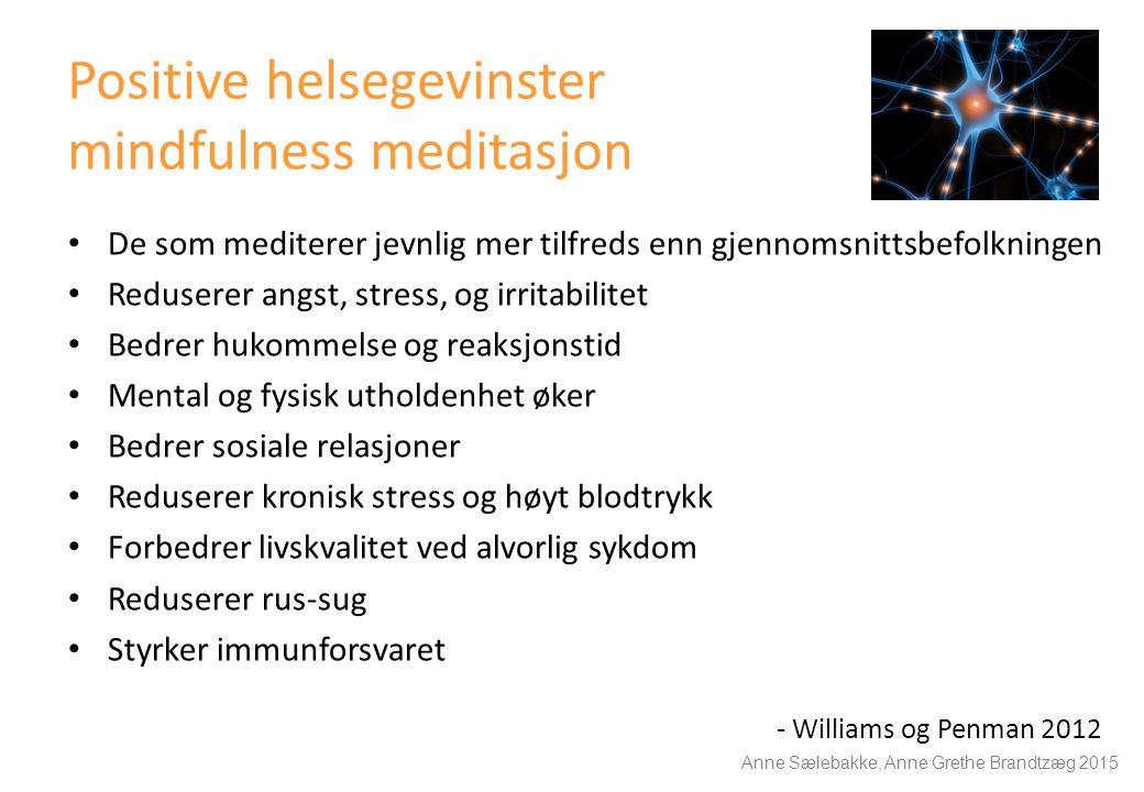 Positive helsegevinster mindfulness meditasjon De som mediterer jevnlig mer tilfreds enn gjennomsnittsbefolkningen Reduserer angst, stress, og irritabilitet Bedrer hukommelse og reaksjonstid Mental og fysisk utholdenhet øker Bedrer sosiale relasjoner Reduserer kronisk stress og høyt blodtrykk Forbedrer livskvalitet ved alvorlig sykdom Reduserer rus-sug Styrker immunforsvaret - Williams og Penman 2012 Anne Sælebakke, Anne Grethe Brandtzæg 2015