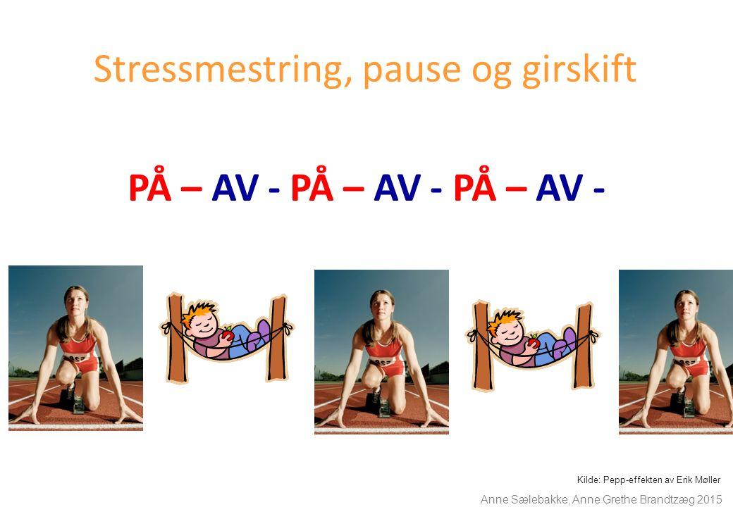 Stressmestring, pause og girskift PÅ – AV - PÅ – AV - PÅ – AV - Kilde: Pepp-effekten av Erik Møller Anne Sælebakke, Anne Grethe Brandtzæg 2015