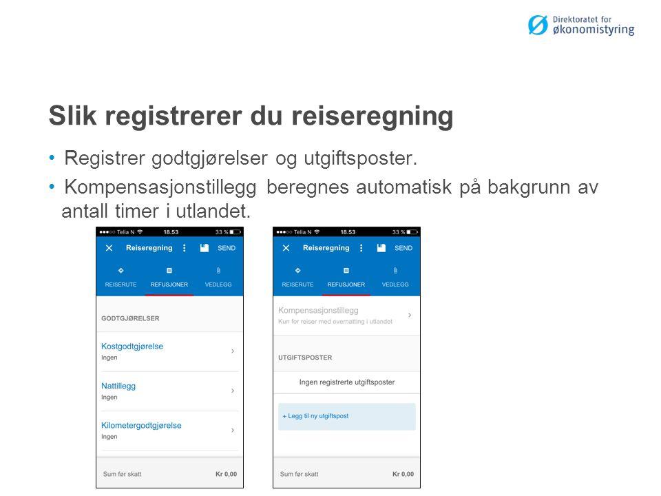 Slik registrerer du reiseregning Registrer godtgjørelser og utgiftsposter.