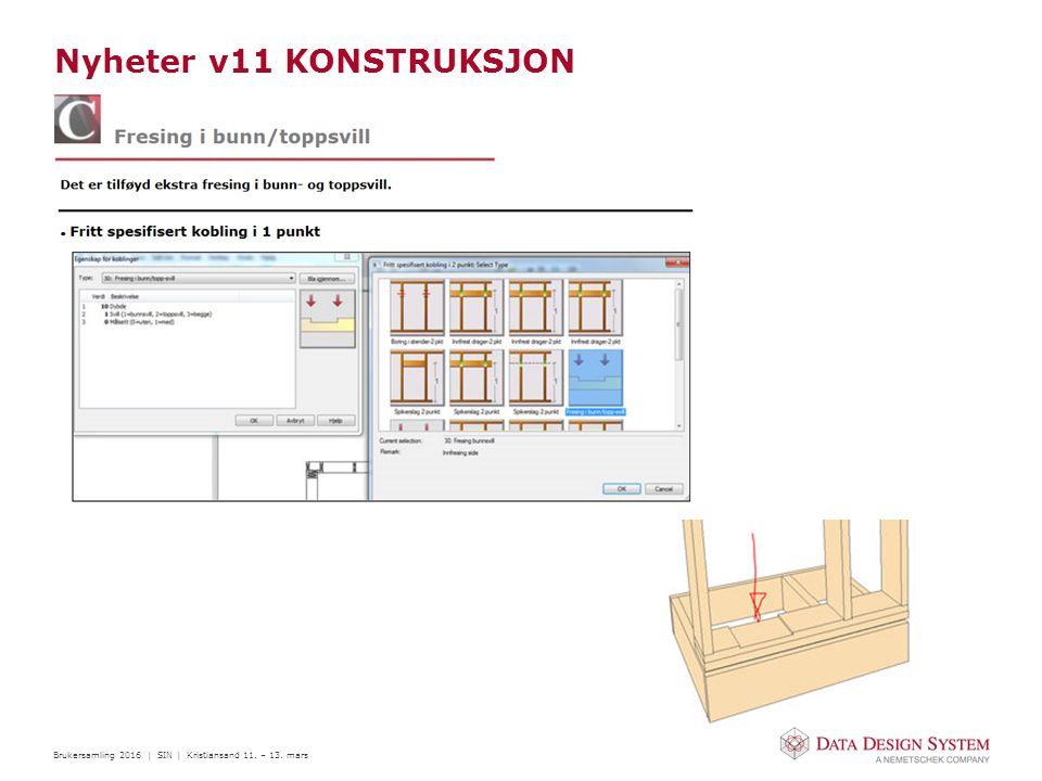 Brukersamling 2016 | SIN | Kristiansand 11. – 13. mars Nyheter v11 KONSTRUKSJON